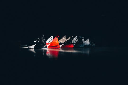 A picture of a row of trainers
