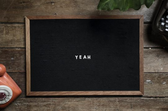 A picture of the word yeah